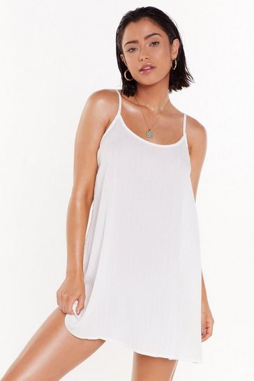 Womens Cream Time to Drop Crinkle Glitter Cami Dress