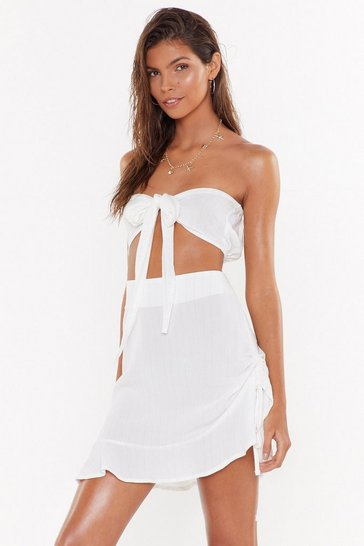 Womens Cream Do I Bow You Ruched Crinkle Cover-Up Skirt
