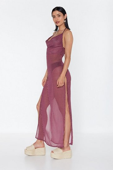 Burgundy Beyond the Sea Polka Dot Cover-Up Dress