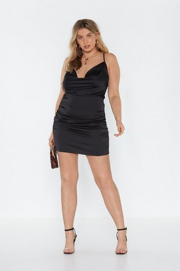 Womens Black On the Cowl Satin Plus Mini Dress