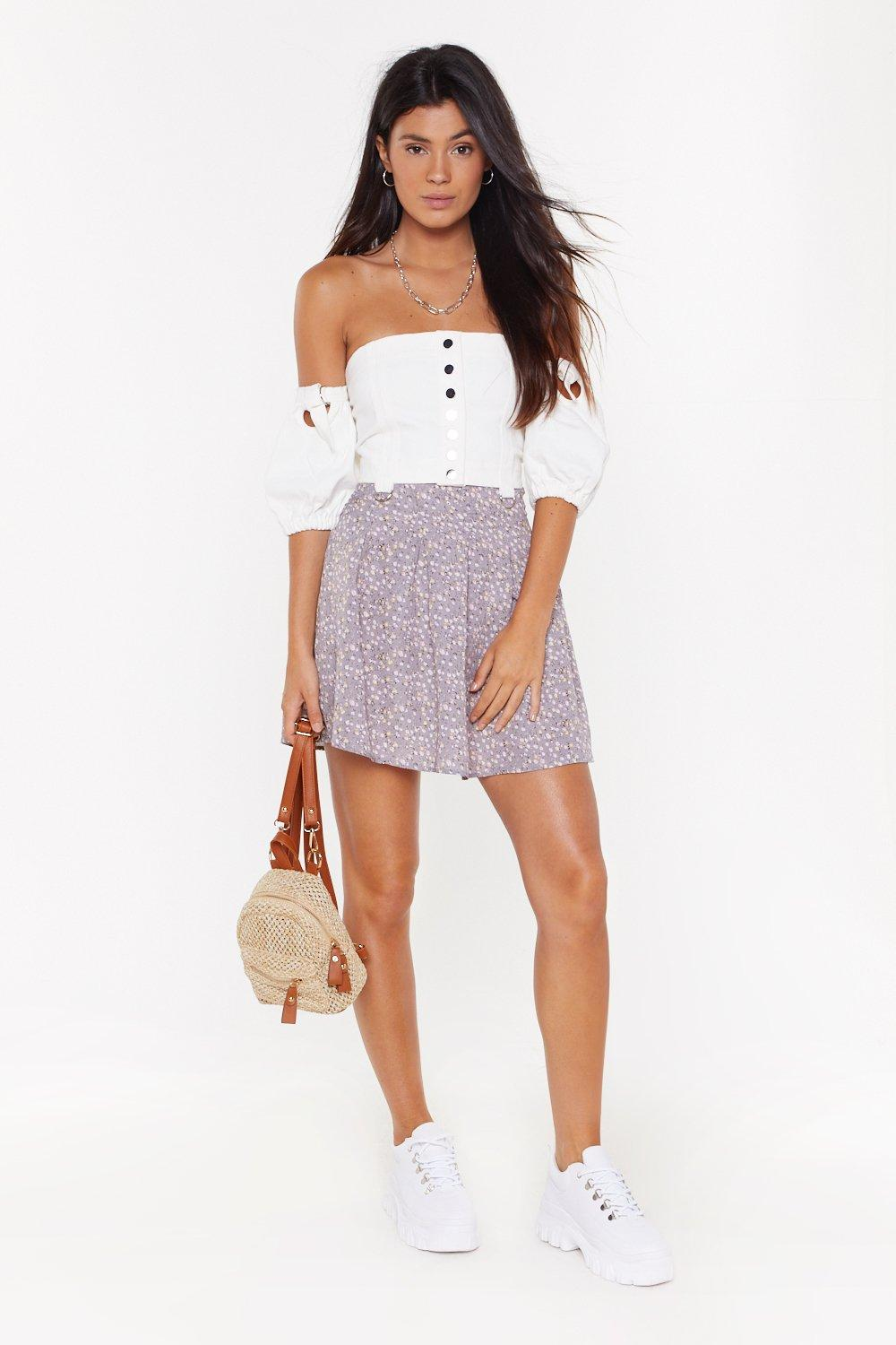 Lilac Floral Pleated Skater Shirt