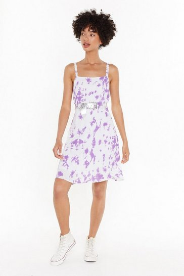 Womens Lilac Splash Back Tie Dye Mini Dress