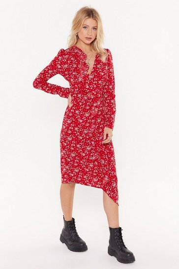 Womens Red Plant a Kiss on Me Floral Ruffle Midi Dress