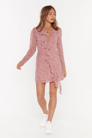 Womens Rose Floral Of the Story Ruffle Mini Dress