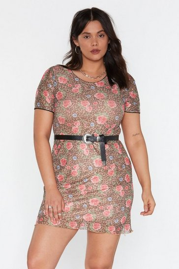 Womens Brown Mesh Me When I'm Gone Leopard Floral Dress
