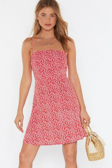 Womens Red Floral Square Neck Mini Dress