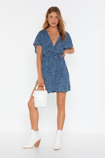 Womens Vintage blue Spot in the Name of Love Spotty Wrap Dress