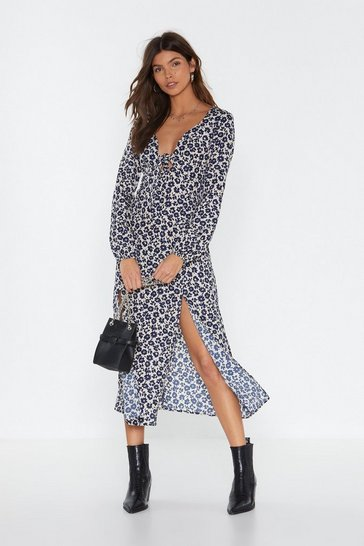 Navy Floral Day Long Slit Midi Dress