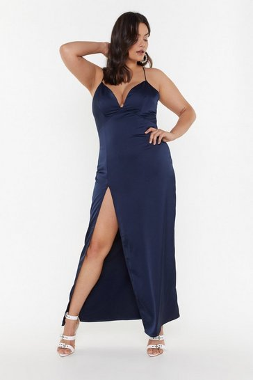 Womens Navy Look At You Satin Plus Dress