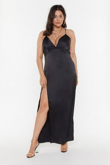 Womens Black MS Look At You Satin Dress