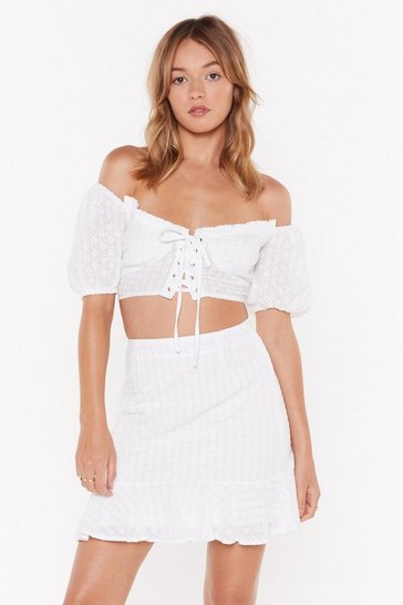 Womens White Are You on Broderie Off-the-Shoulder Crop Top