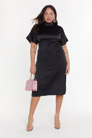 Womens Black High Neckline Feeling Fine Plus Midi Dress