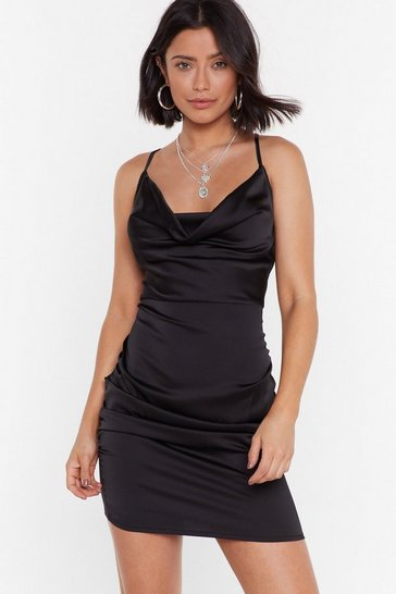 Womens Black On The Cowl Satin Mini Dress