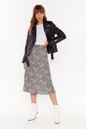 Womens Black Think Long and Leopard Midi Skirt