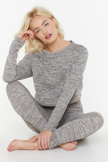 Womens Grey Brushed Lounge Top