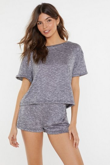 Womens Grey Soft Marl Roll Back Lounge Top