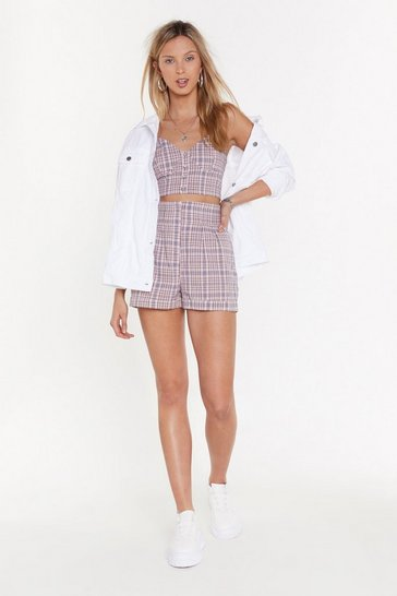 Womens Lilac Checkmate High-Waisted Shorts