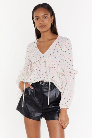 White The Heart Wants Relaxed Tie Blouse
