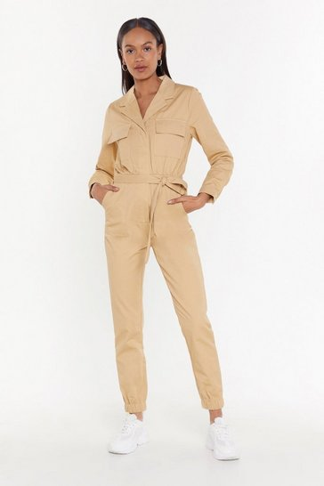 Womens Natural A Watched Pot Never Boils Belted Boilersuit