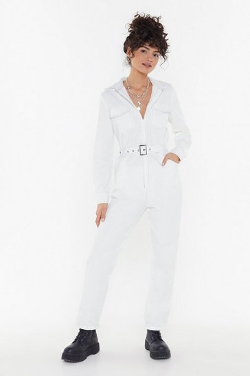 Womens White The Current Stitch-uation Denim Boilersuit