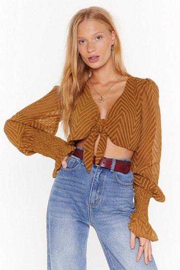 Womens Gold High Life Tie Front Crop Top
