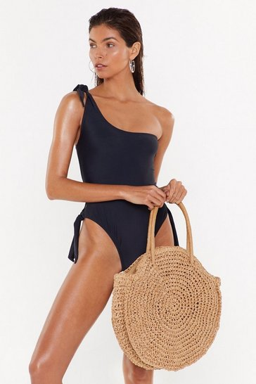 Black So Tied Up One Shoulder High-Leg Swimsuit