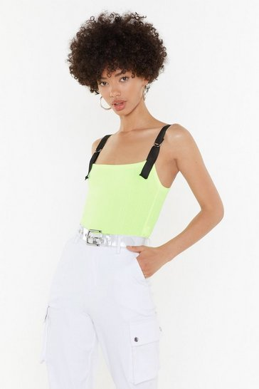 Womens Green Ring the Beat in D-Ring Textured Bodysuit