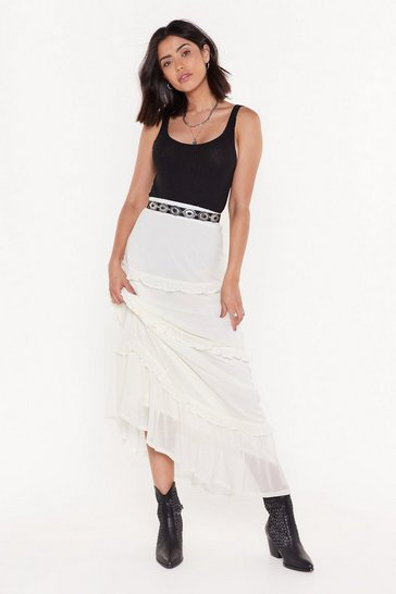 Womens Off white Frills in the Night High-Waisted Maxi Skirt