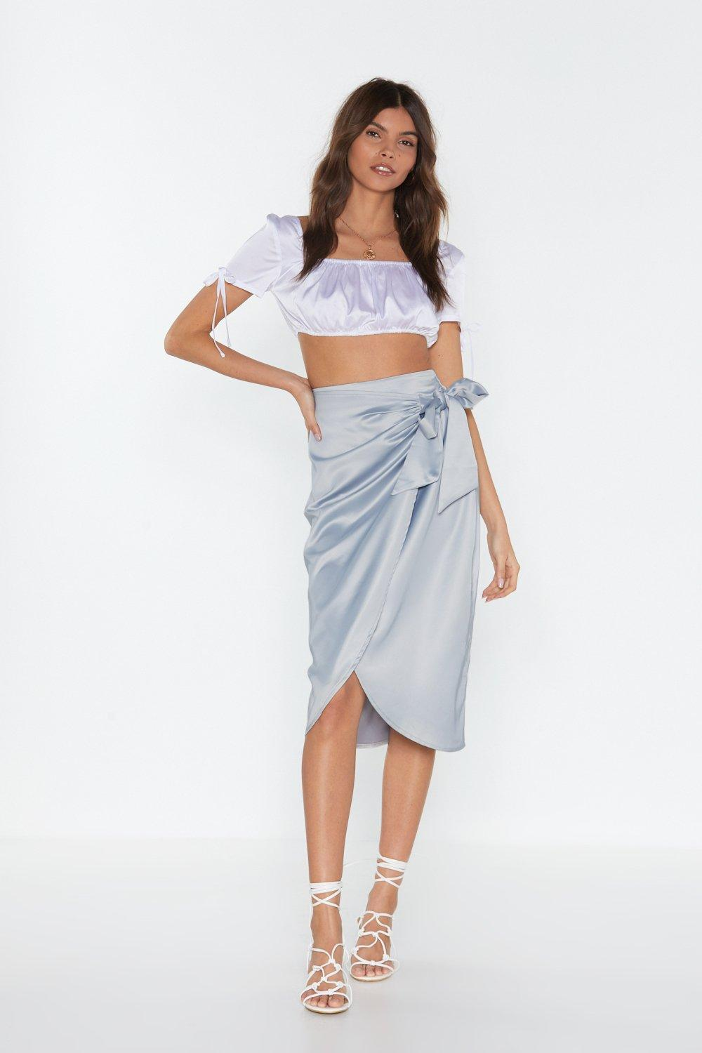 Give It Tie Satin Wrap Skirt by Nasty Gal