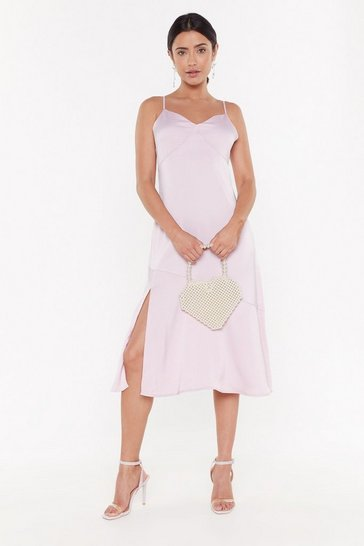 Womens Lavender Strappy Seam Hem Detail Midi Dress