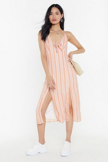 Womens Peach Stripe Double Split Tie Front Midi Dress