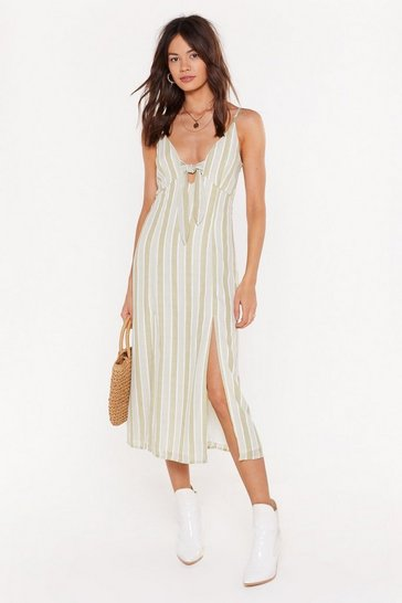 Womens Sage Stripe Double Split Tie Front Midi Dress