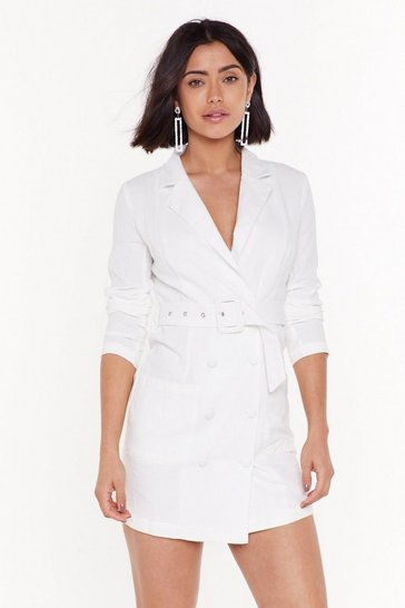 Womens White Goal Digger Belted Blazer Dress