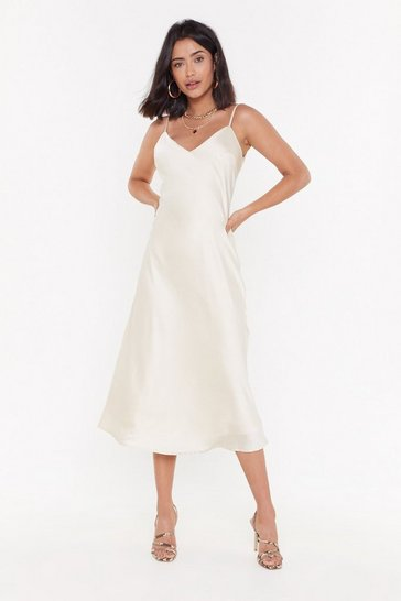 Womens Cream Bias Cut V-Neck V-Back Midi Dress