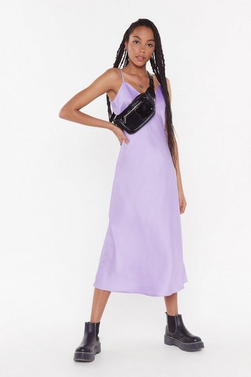 Womens Lilac Bias Cut V-Neck V-Back Midi Dress