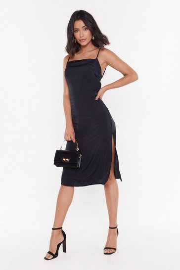 Womens Black Strap Back Satin Midi Dress