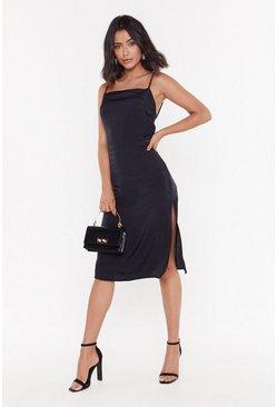Womens Black Strap Back Satin Midi Dress