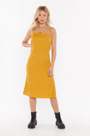 Womens Mustard Cowl Do You Like Me Now Satin Midi Dress