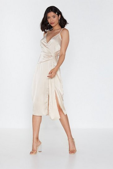 Womens Oyster Wrap Drape Detail Midi Dress