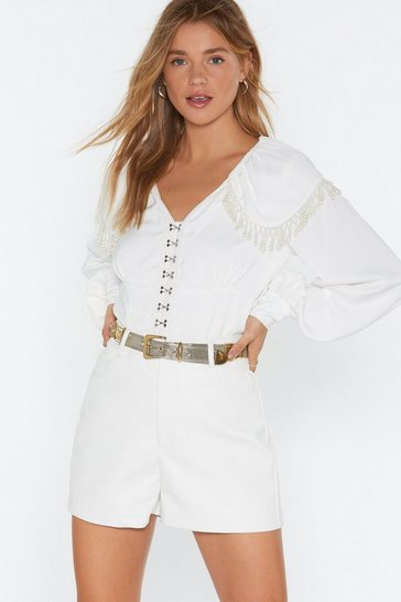Womens White Whatever the Faux Leather High-Waisted Shorts