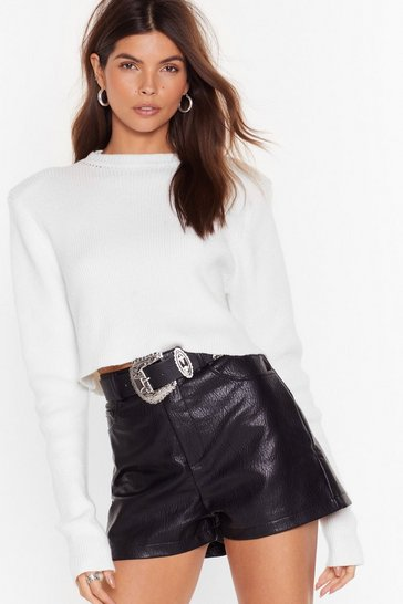 Womens Black Faux Leather Shorts