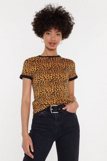 Better Leopard Ringer Tee, Orange, FEMMES