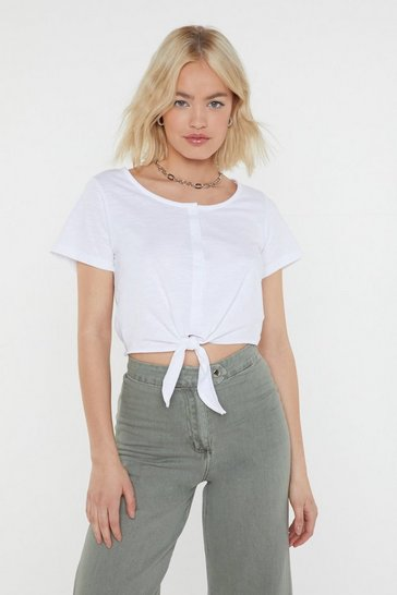 Womens White Tie Like That Button-Down Tee