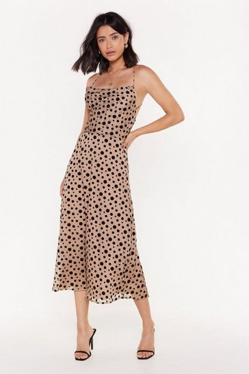 Womens Natural Spot On the Mark Polka Dot Midi Dress