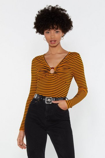 Womens Mustard Oh No You Didn't Striped O-Ring Top