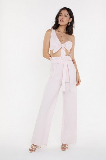 Womens Pink Rude Knot to Paperbag Wide-Leg Pants