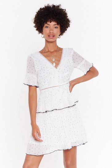 Womens White Polka Dot Ruffle Mini Dress