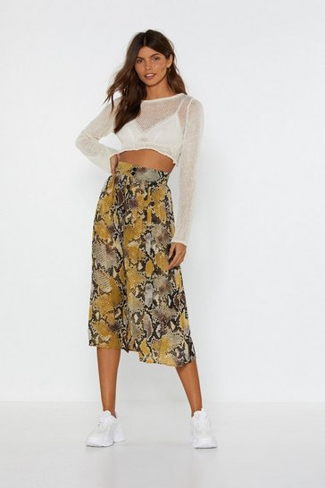 Womens Mustard Snake Money Moves Midi Skirt