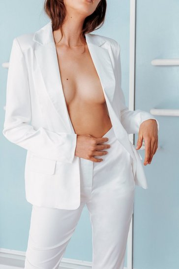 Ivory It's a Match Satin Bridal Blazer