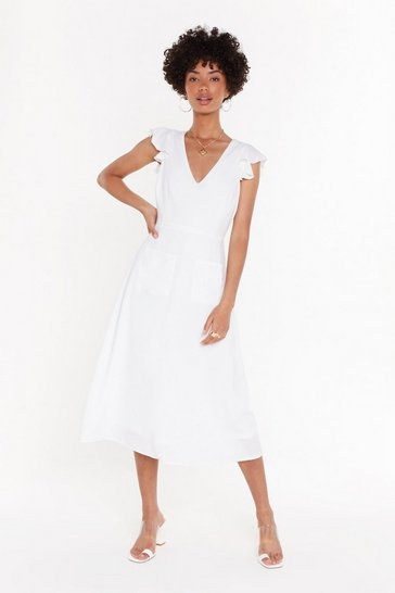 Womens White Linen Pocket Midi Dress